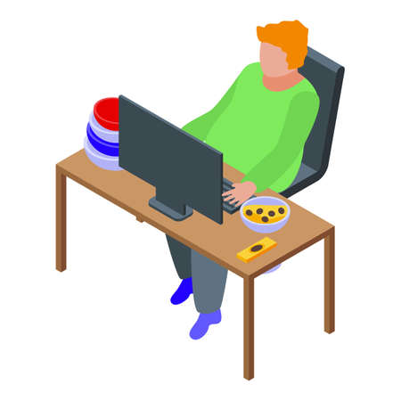 Gluttony home work icon, isometric style