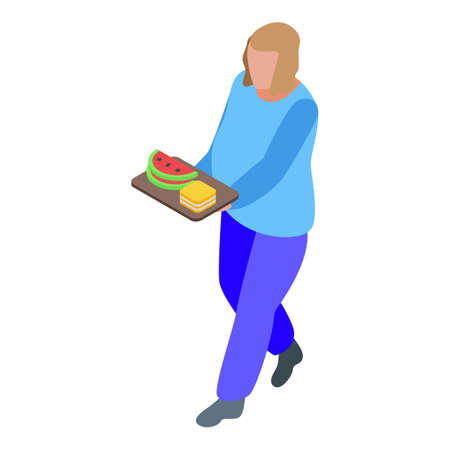 Gluttony woman food icon, isometric style