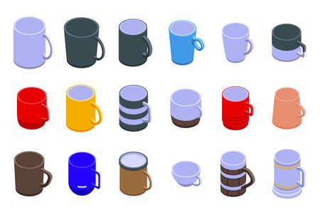 Mug icons set, isometric style