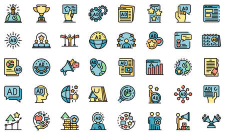 Advertising Manager icons set vector flat