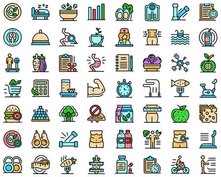 Nutritionist icons set vector flat