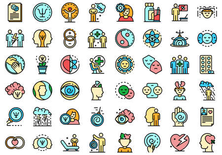 Psychologist icons set vector flat