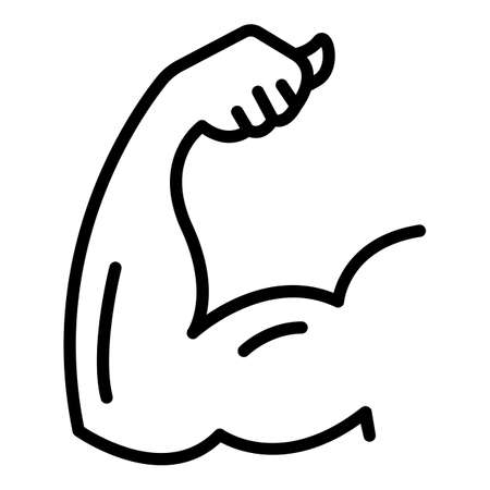 Arm biceps icon, outline style Vector Illustration