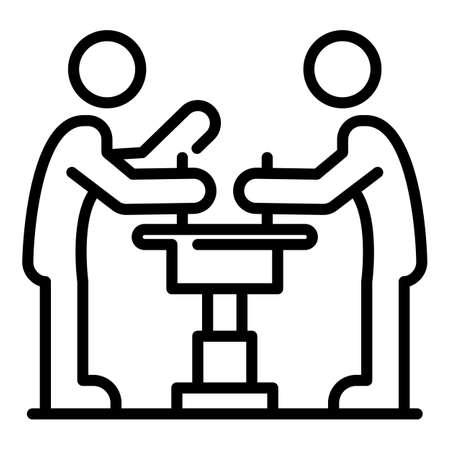 Two arm wrestle icon, outline style