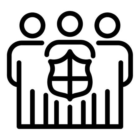 Secured people icon, outline style