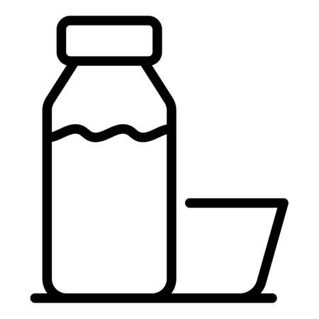 Juice bottle icon, outline style 向量圖像