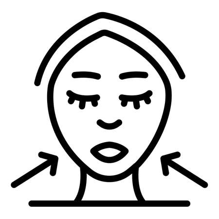 Female face icon, outline style