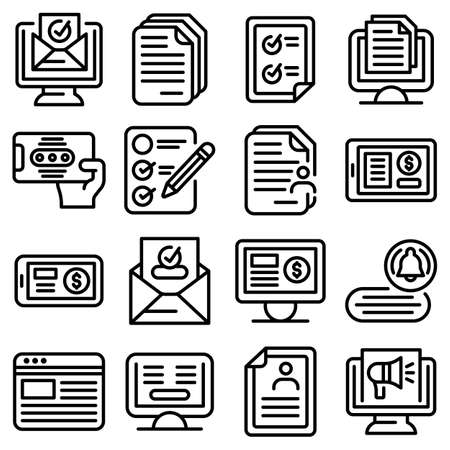 Subscription icons set, outline style