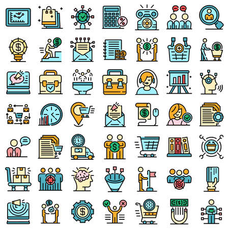 Purchasing Manager icons set vector flat
