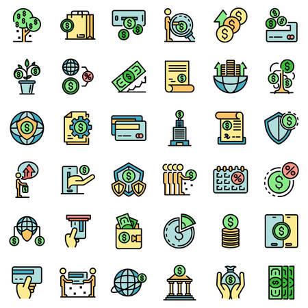 Credit union icons set vector flat