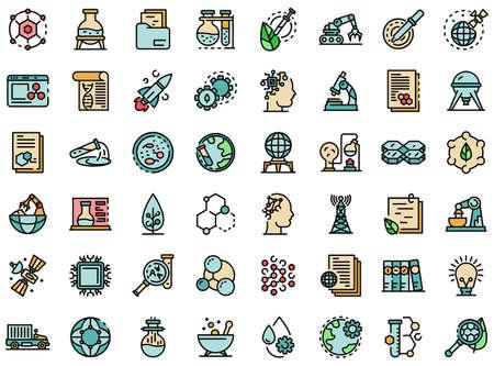Nanotechnology icons set vector flat