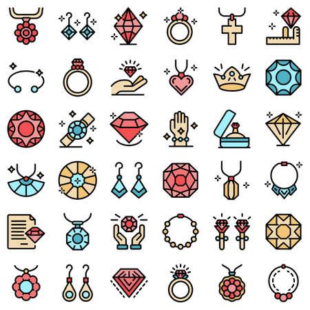 Jewelery icons set vector flat