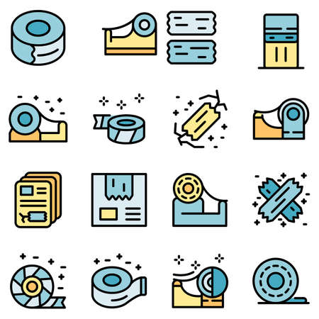 tape icons set vector flat