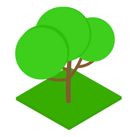 Shady tree icon, isometric style Çizim
