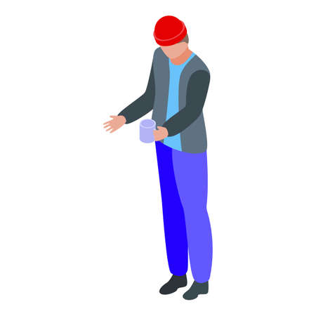 Jobless man beg money icon, isometric style Illustration