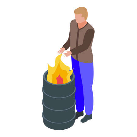 Jobless man at fire barrel icon, isometric style
