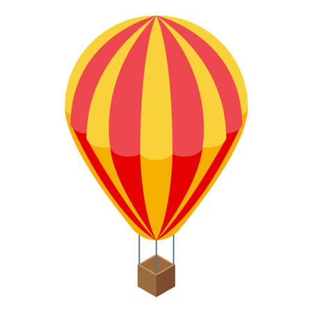 Sightseeing air balloon icon, isometric style