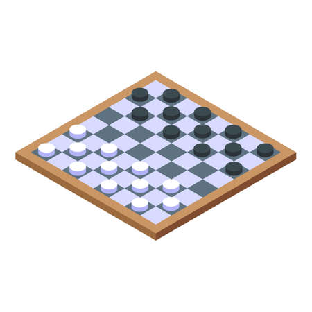 Nursing home checkers icon, isometric style