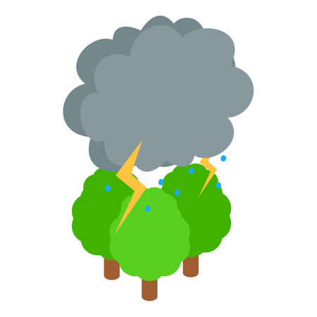 Thunderstorm icon, isometric style