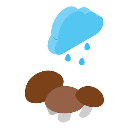 Autumn rain icon, isometric style 向量圖像