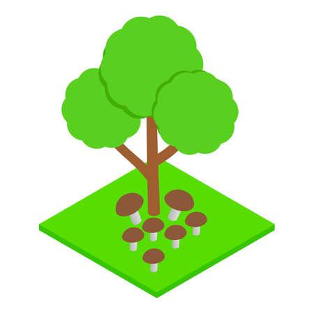 Mushroom season icon, isometric style