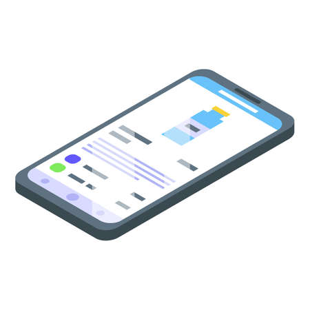 Smartphone online shopping icon, isometric style