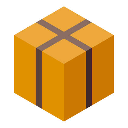 Parcel delivery carton box icon, isometric style