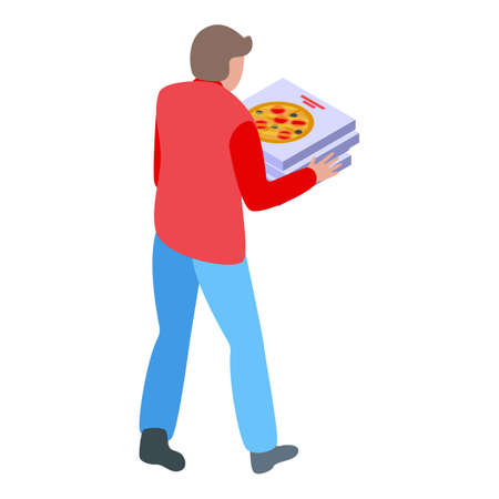 Pizza food delivery icon, isometric style
