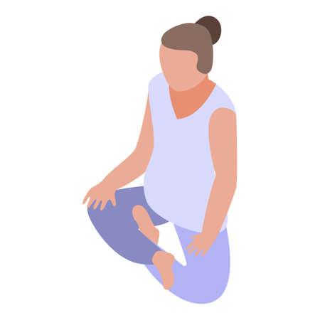 Girl meditation icon, isometric style