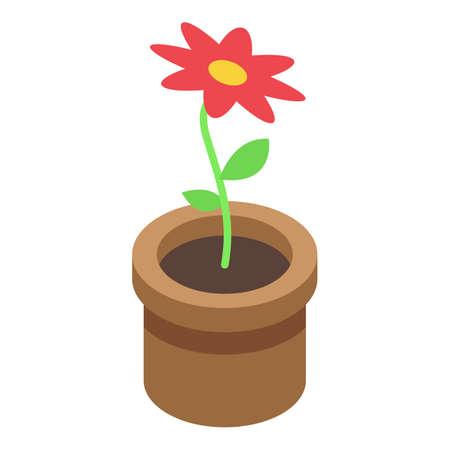 Room plant pot icon, isometric style