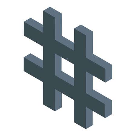 Digital detox hashtag icon, isometric style Illusztráció