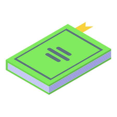Self reading book icon, isometric style