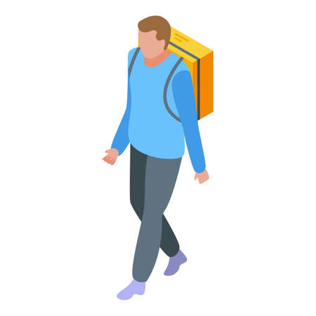 Food home delivery icon, isometric style