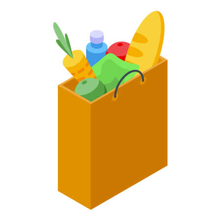 Food products delivery icon, isometric style