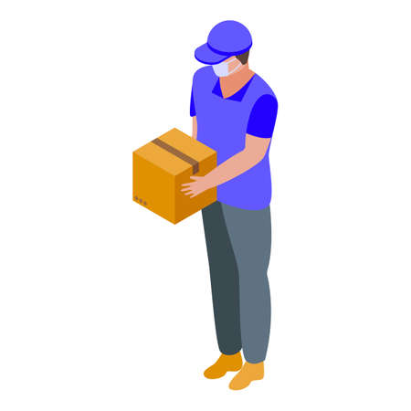 Courier in mask home delivery icon, isometric style