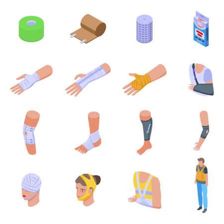 Bandage icons set, isometric style