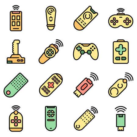 Remote control icons set vector flat Illusztráció