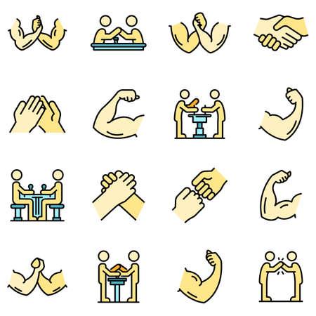 Arm wrestling icons set vector flat Vetores