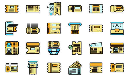 Bus ticketing icons set vector flat