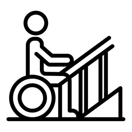 Handicapped wheelchair at stairs icon, outline style