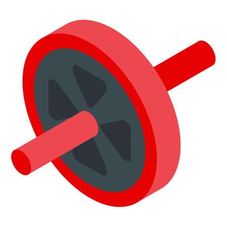 Home training abs wheel icon, isometric style Illustration