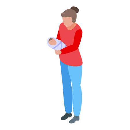 Family moment first kid birth icon, isometric style Vektorgrafik