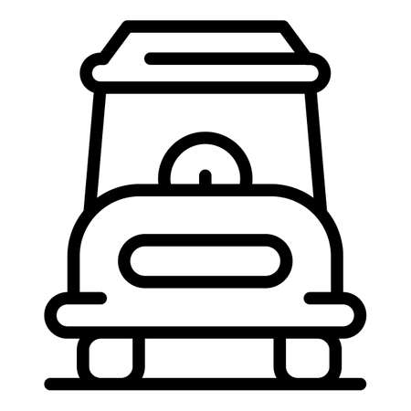 Single golf cart icon, outline style