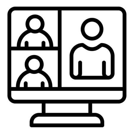 Video room call icon, outline style Ilustración de vector