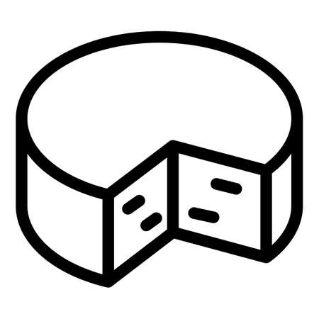 Feta cheese icon, outline style Иллюстрация