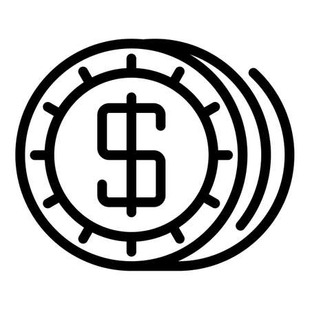Dollar token icon, outline style 向量圖像