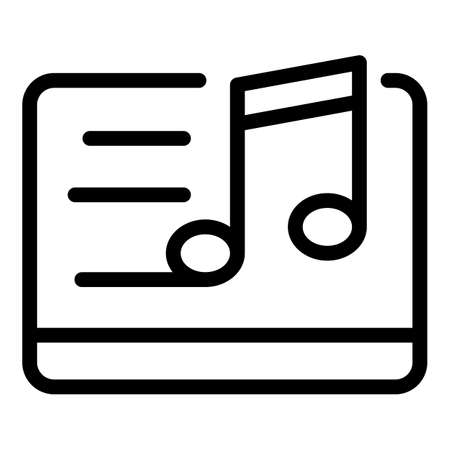 Music edit icon, outline style