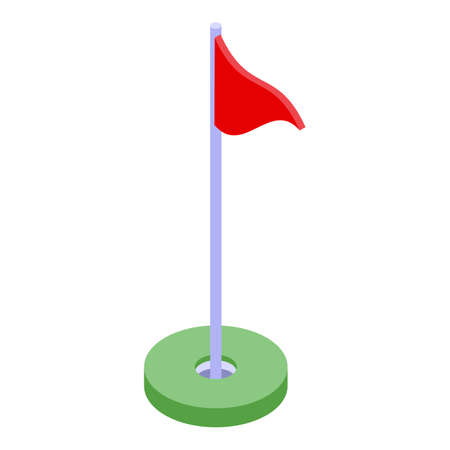 Golf red flag icon, isometric style Vector Illustration