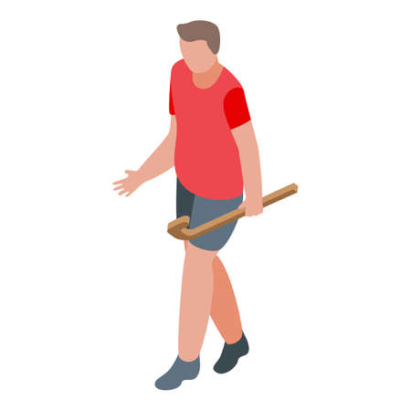 Hurling man player icon, isometric style