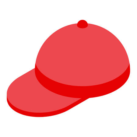 Red golf cap icon, isometric style